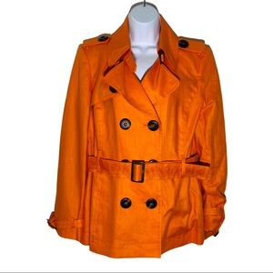 Andre Oliver Orange Linen Trench Coat Jacket